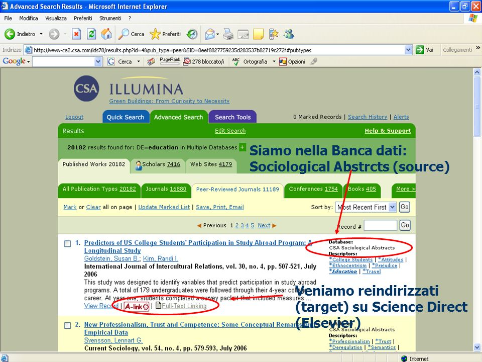 24 Veniamo reindirizzati (target) su Science Direct (Elsevier) Siamo nella Banca dati: Sociological Abstrcts (source)