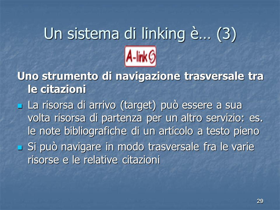 29 Un sistema di linking è… (3) Uno strumento di navigazione trasversale tra le citazioni La risorsa di arrivo (target) può essere a sua volta risorsa