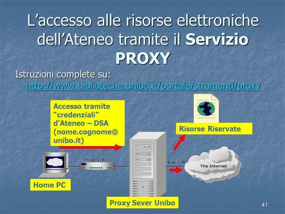 41 Laccesso alle risorse elettroniche dellAteneo tramite il Servizio PROXY Istruzioni complete su: http://www.biblioteche.unibo.it/portale/strumenti/p