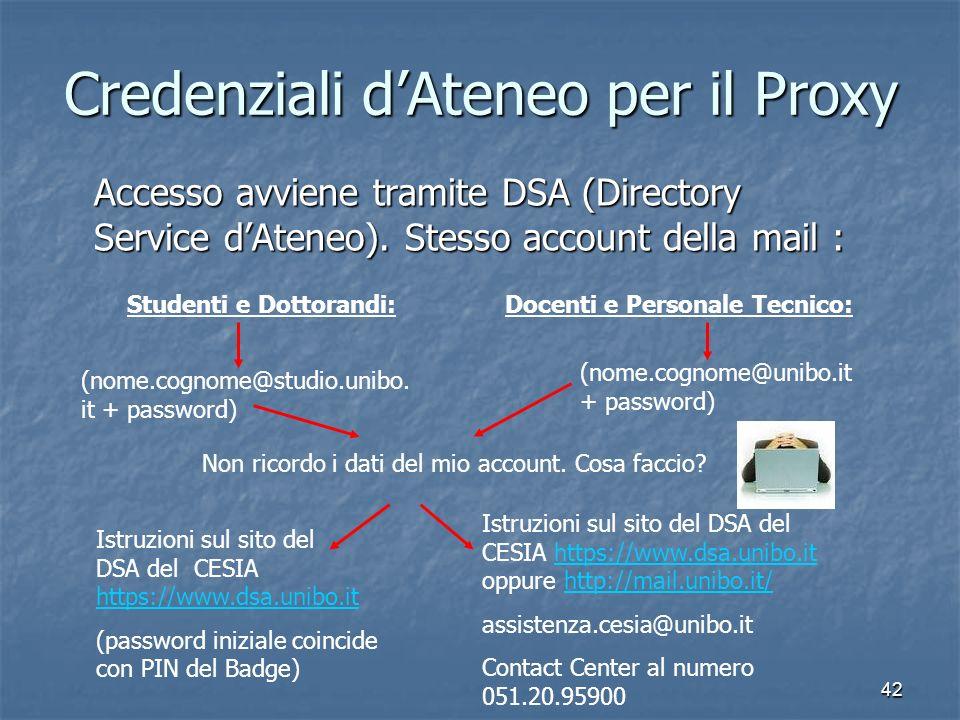 42 Credenziali dAteneo per il Proxy Accesso avviene tramite DSA (Directory Service dAteneo). Stesso account della mail : Studenti e Dottorandi:Docenti