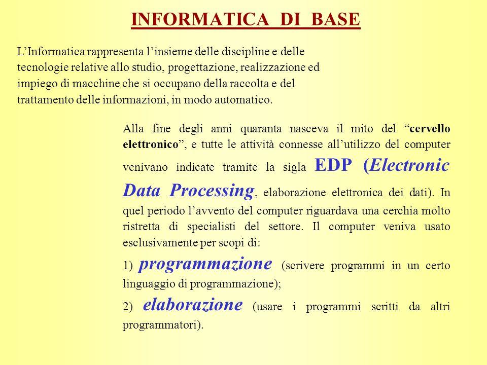 Alla fine degli anni quaranta nasceva il mito del cervello elettronico, e tutte le attività connesse allutilizzo del computer venivano indicate tramite la sigla EDP (Electronic Data Processing, elaborazione elettronica dei dati).