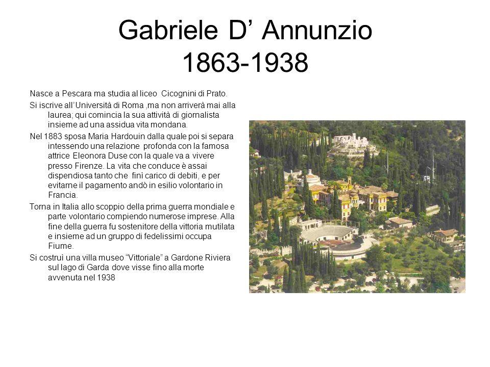 Gabriele D Annunzio 1863-1938 Nasce a Pescara ma studia al liceo Cicognini di Prato. Si iscrive allUniversità di Roma,ma non arriverà mai alla laurea;