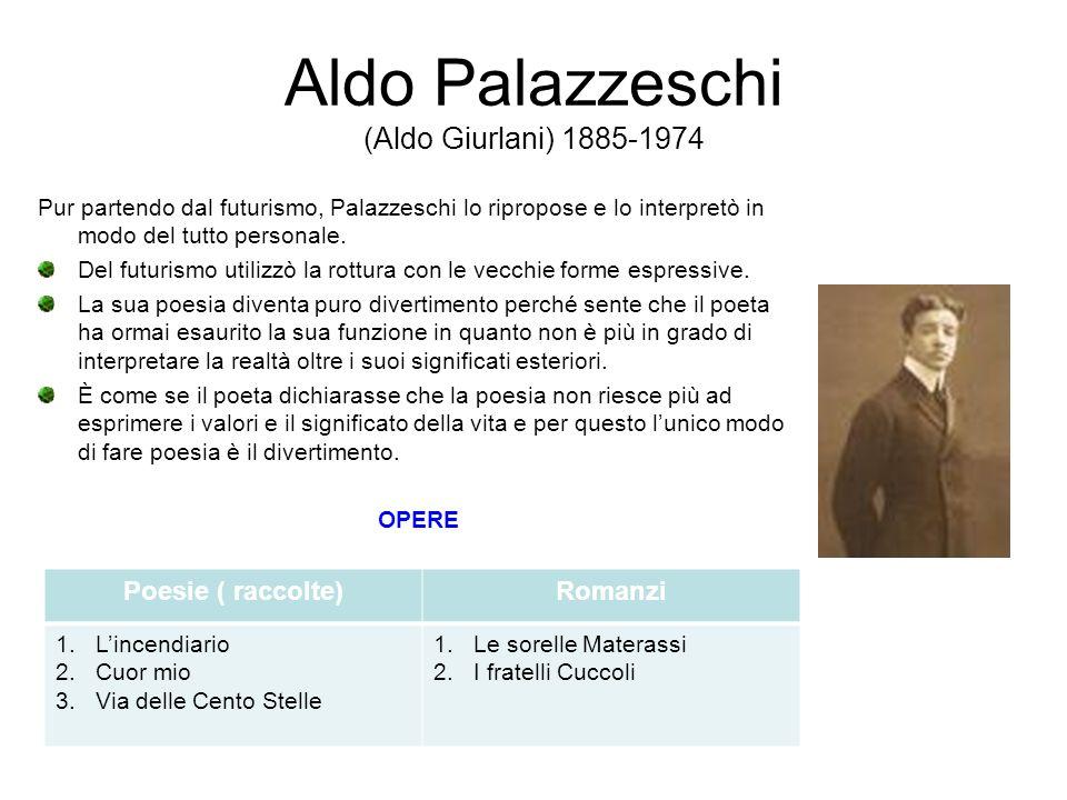 Aldo Palazzeschi (Aldo Giurlani) 1885-1974 Pur partendo dal futurismo, Palazzeschi lo ripropose e lo interpretò in modo del tutto personale. Del futur