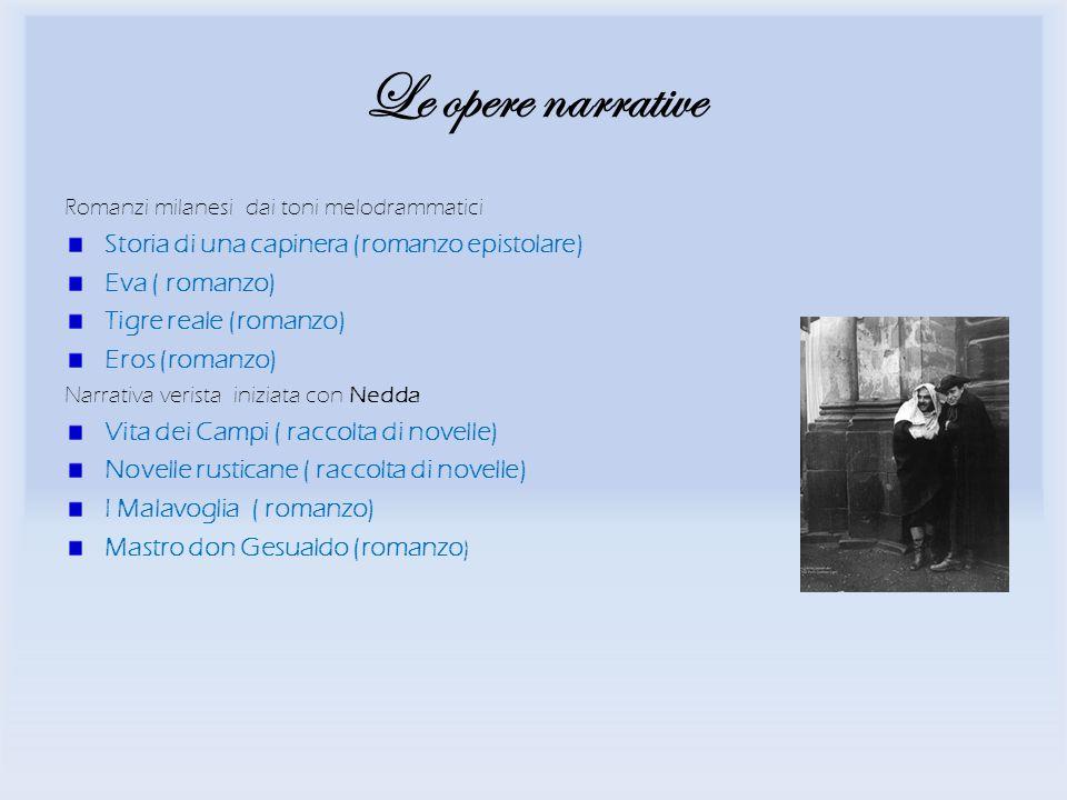 Le opere narrative Romanzi milanesi dai toni melodrammatici Storia di una capinera (romanzo epistolare) Eva ( romanzo) Tigre reale (romanzo) Eros (rom