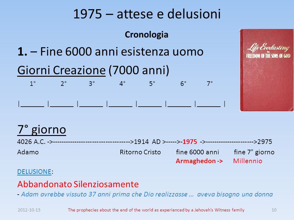 2012-10-13The prophecies about the end of the world as experienced by a Jehovahs Witness family10 1975 – attese e delusioni Cronologia 1. – Fine 6000