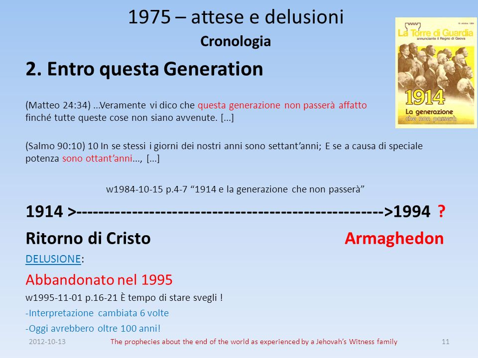 2012-10-13The prophecies about the end of the world as experienced by a Jehovahs Witness family11 1975 – attese e delusioni Cronologia 2.