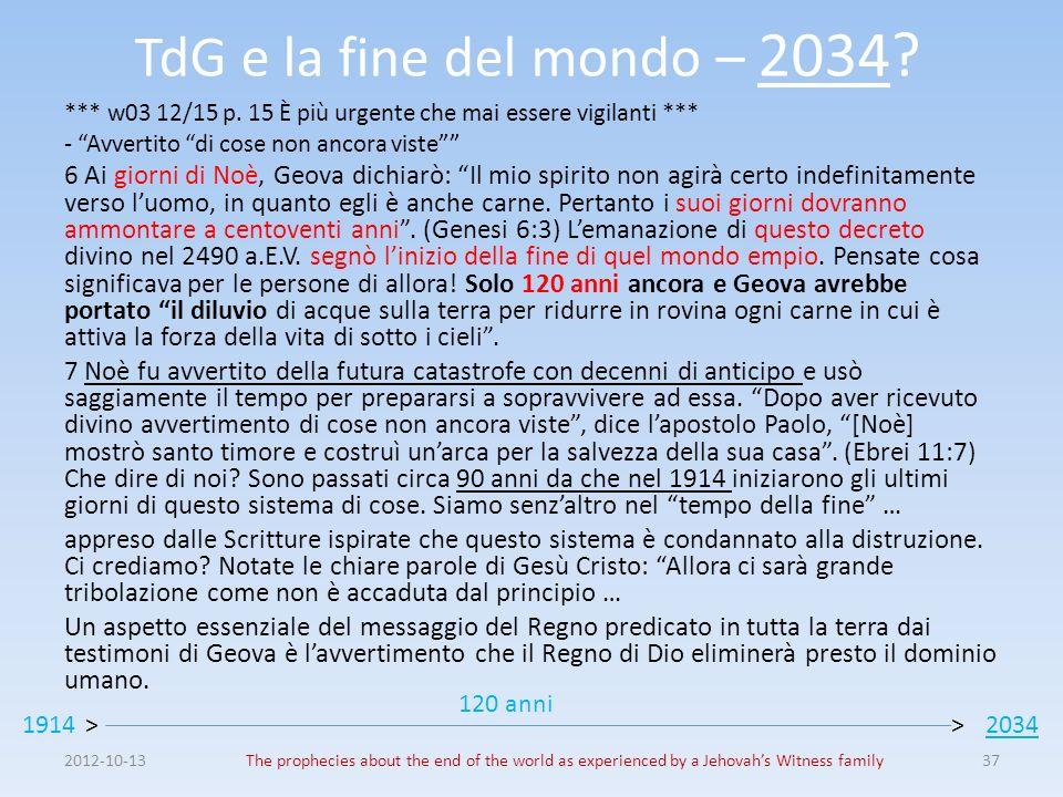 TdG e la fine del mondo – 2034? *** w03 12/15 p. 15 È più urgente che mai essere vigilanti *** - Avvertito di cose non ancora viste 6 Ai giorni di Noè