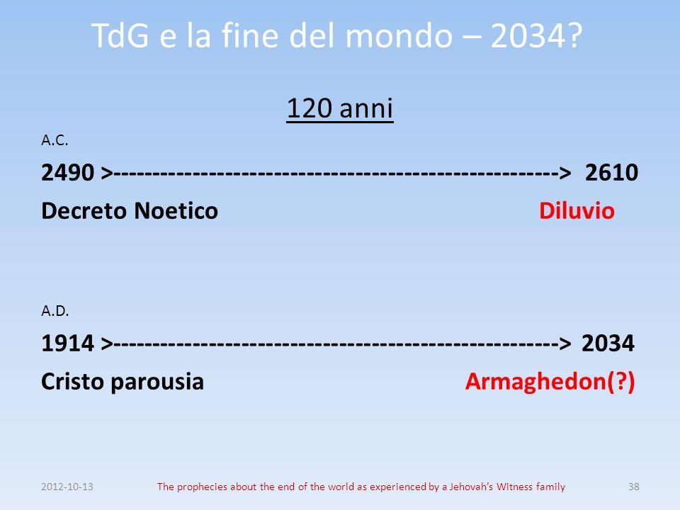TdG e la fine del mondo – 2034? 120 anni A.C. 2490 >------------------------------------------------------->2610 Decreto Noetico Diluvio A.D. 1914 >--