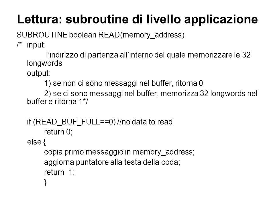 Lettura: subroutine di livello applicazione SUBROUTINE boolean READ(memory_address) /* input: lindirizzo di partenza allinterno del quale memorizzare