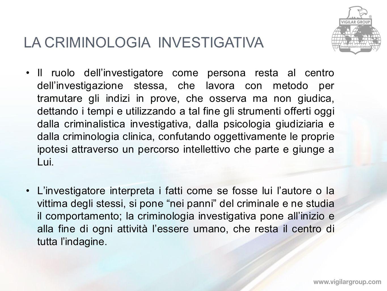 Il ruolo dellinvestigatore come persona resta al centro dellinvestigazione stessa, che lavora con metodo per tramutare gli indizi in prove, che osserv