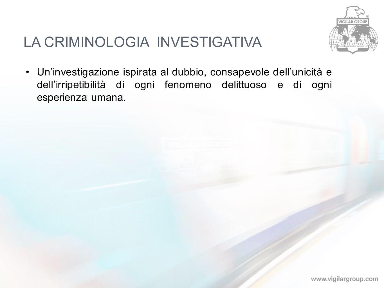 Uninvestigazione ispirata al dubbio, consapevole dellunicità e dellirripetibilità di ogni fenomeno delittuoso e di ogni esperienza umana. LA CRIMINOLO