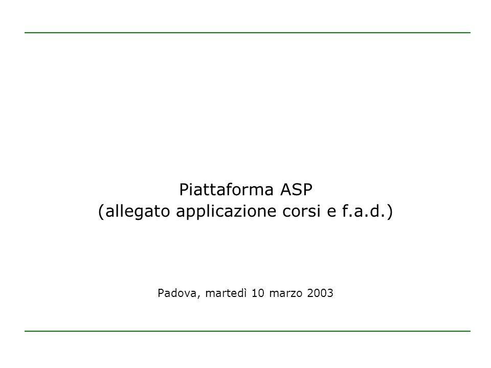 Piattaforma ASP (allegato applicazione corsi e f.a.d.) Padova, martedì 10 marzo 2003