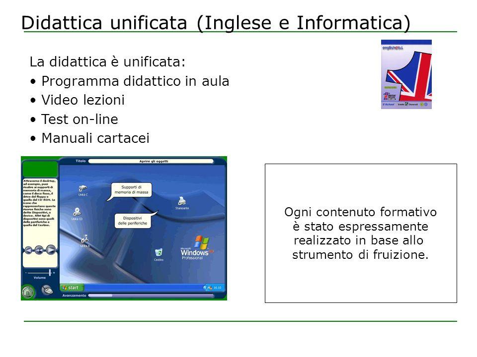 Didattica unificata (Inglese e Informatica) Ogni contenuto formativo è stato espressamente realizzato in base allo strumento di fruizione.