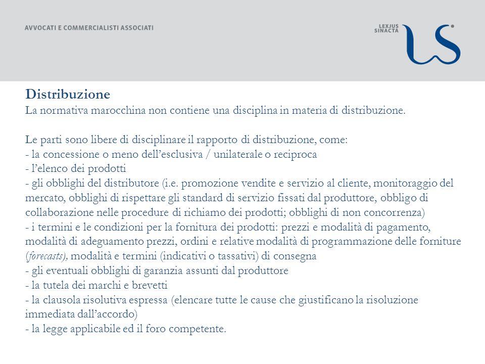 Distribuzione La normativa marocchina non contiene una disciplina in materia di distribuzione.