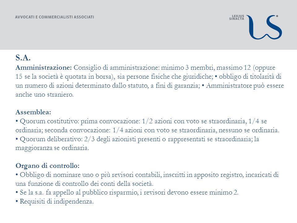 S.A. Amministrazione: Consiglio di amministrazione: minimo 3 membri, massimo 12 (oppure 15 se la società è quotata in borsa), sia persone fisiche che