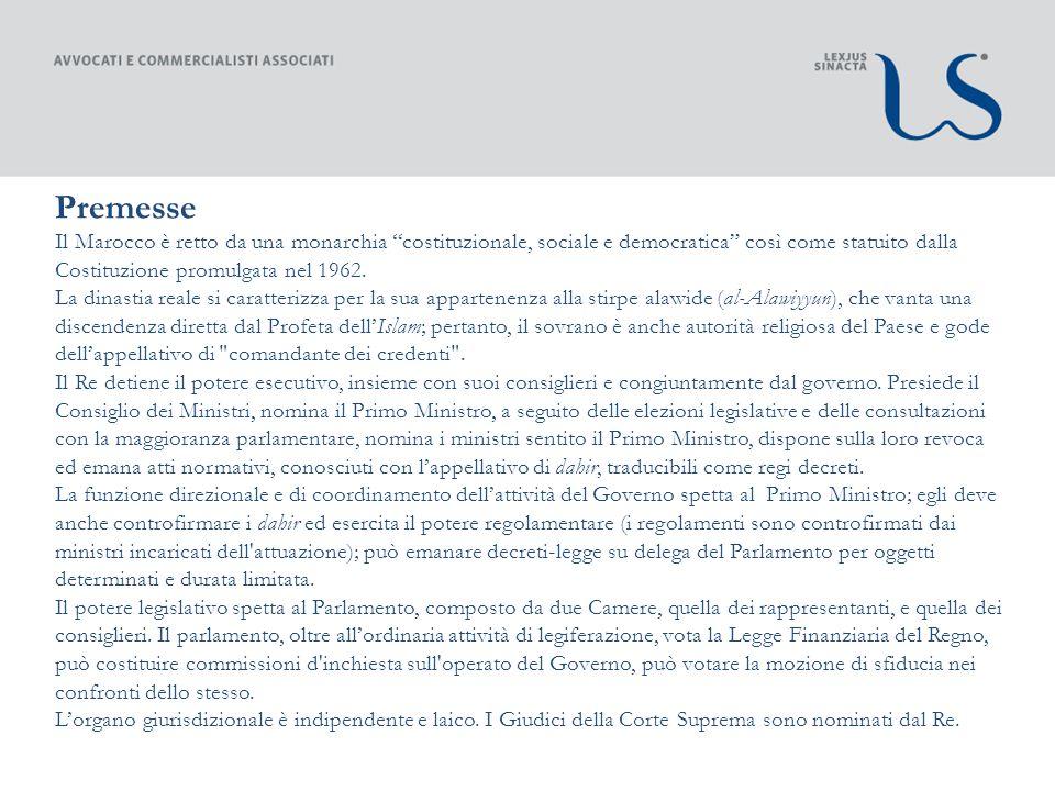 Adesione alle Convenzioni internazionali Accordo di Associazione tra il Marocco e l Unione Europea, sottoscritto il 26 febbraio 1996 ed entrato in vigore il Primo marzo 2000, avente ad oggetto la progressiva instaurazione di una zona di libero scambio industriale « horizon 2012 » e un processo volto alla liberalizzazione degli scambi agricoli.