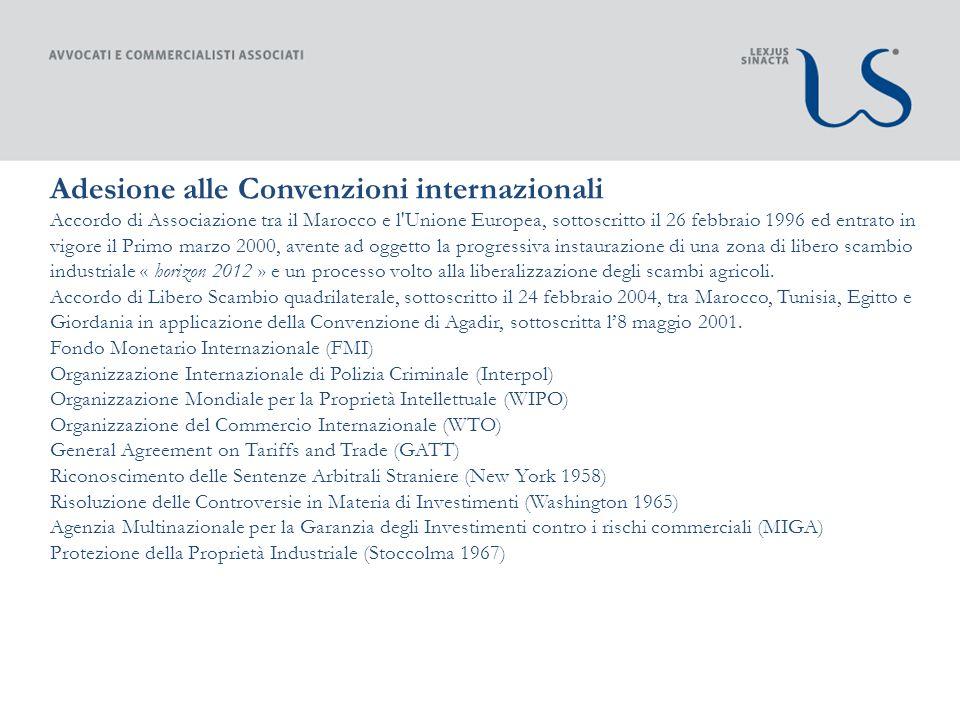 Adesione alle Convenzioni internazionali bilaterali con lItalia Convenzione Italia/Marocco contro le doppie imposizioni sul reddito.