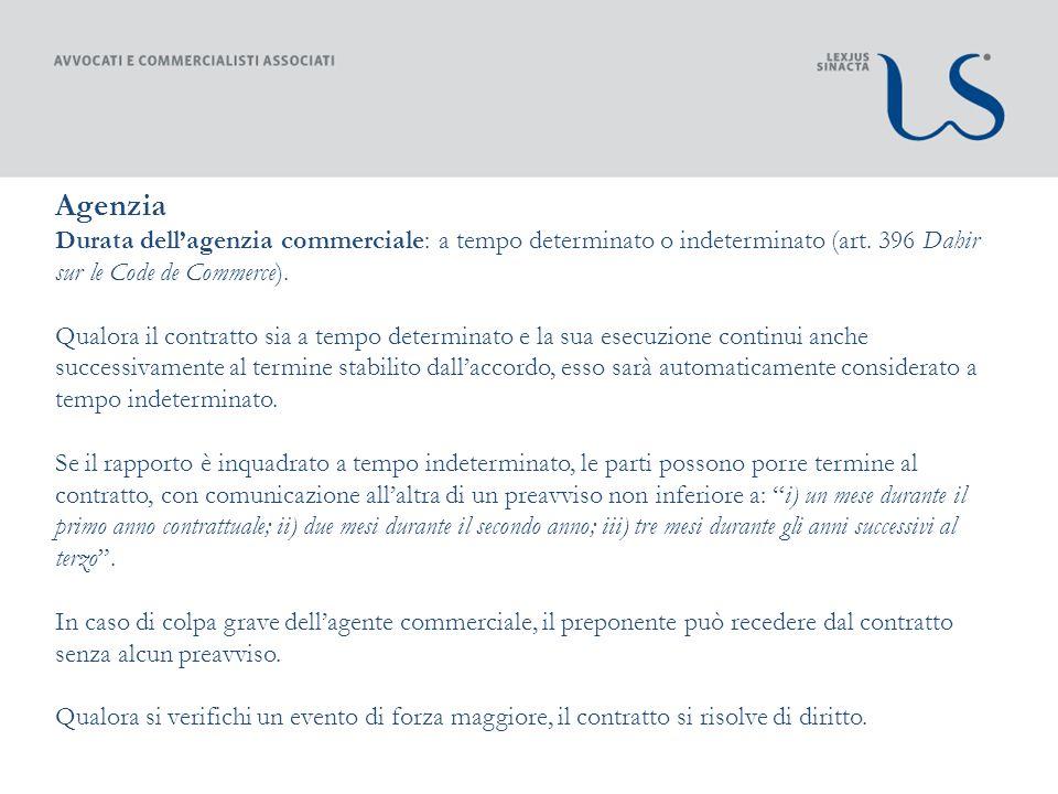 Agenzia Durata dellagenzia commerciale: a tempo determinato o indeterminato (art.