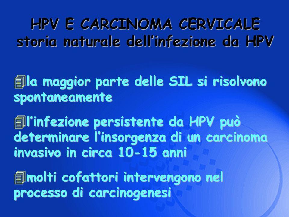 HPV E CARCINOMA CERVICALE storia naturale dellinfezione da HPV 4 la maggior parte delle SIL si risolvono spontaneamente 4 linfezione persistente da HP
