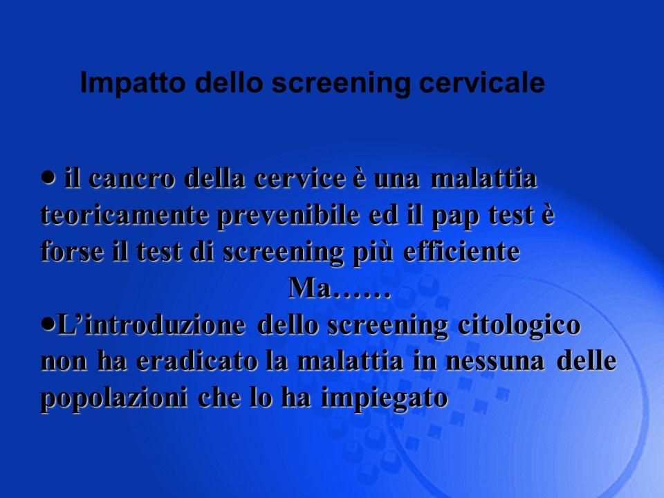 Impatto dello screening cervicale il cancro della cervice è una malattia teoricamente prevenibile ed il pap test è forse il test di screening più effi