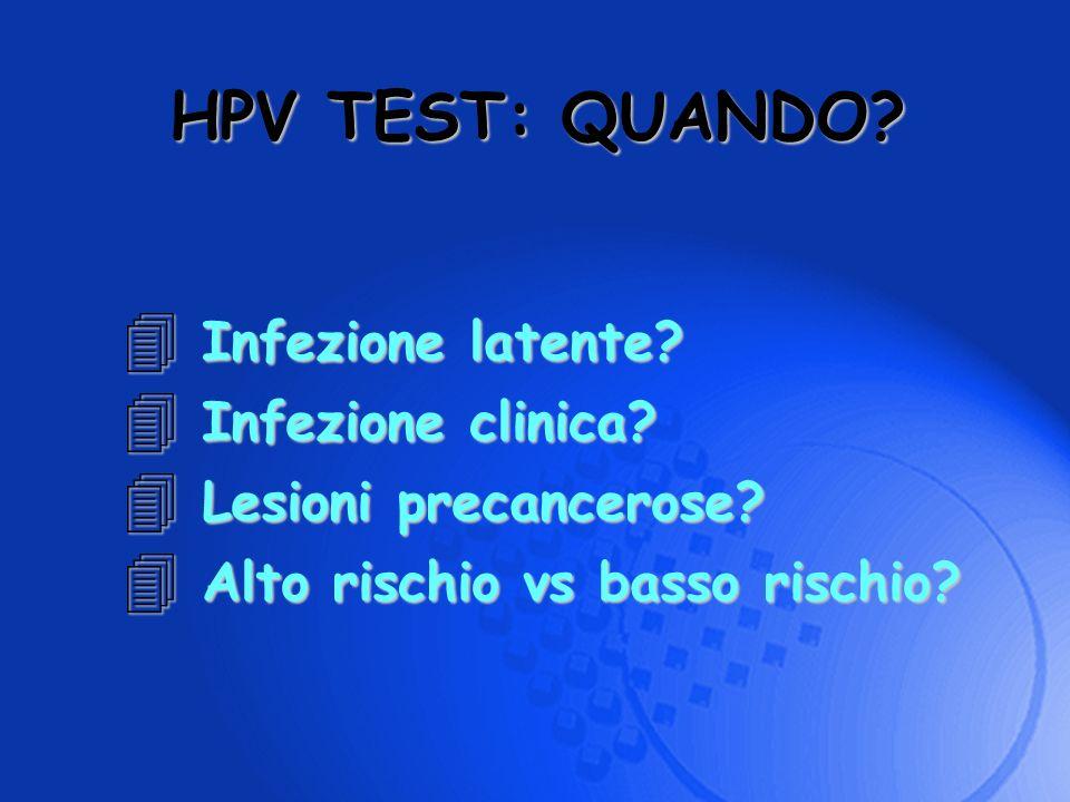 4 Infezione latente? 4 Infezione clinica? 4 Lesioni precancerose? 4 Alto rischio vs basso rischio? HPV TEST: QUANDO?
