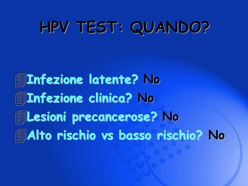 4 Infezione latente? No 4 Infezione clinica? No 4 Lesioni precancerose? No 4 Alto rischio vs basso rischio? No HPV TEST: QUANDO?