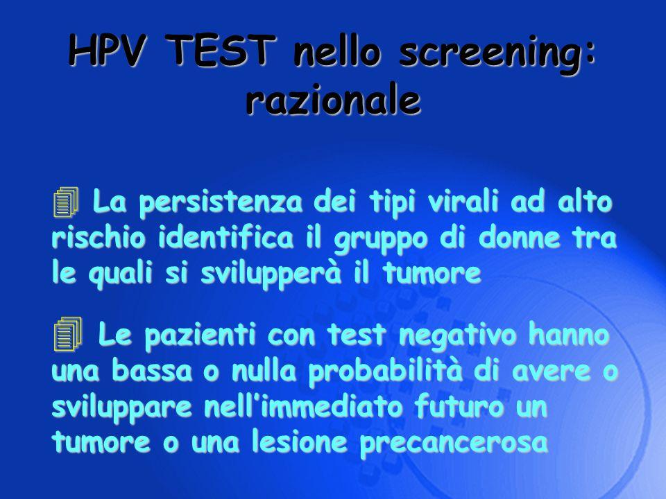 HPV TEST nello screening: razionale 4 La persistenza dei tipi virali ad alto rischio identifica il gruppo di donne tra le quali si svilupperà il tumor
