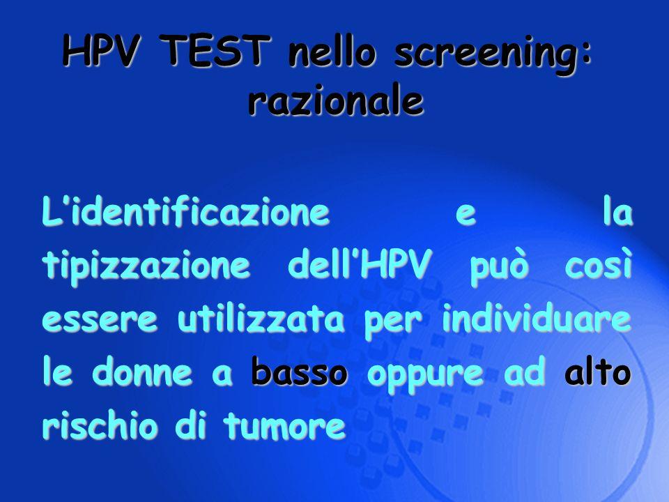 HPV TEST nello screening: razionale Lidentificazione e la tipizzazione dellHPV può così essere utilizzata per individuare le donne a basso oppure ad a