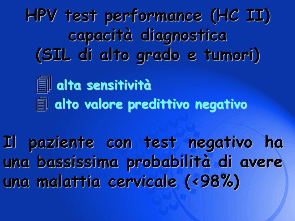 alta sensitività alta sensitività 4 alto valore predittivo negativo HPV test performance (HC II) capacità diagnostica (SIL di alto grado e tumori) Il