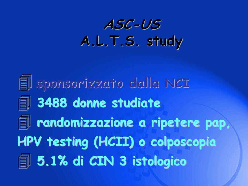 ASC-US A.L.T.S. study sponsorizzato dalla NCI sponsorizzato dalla NCI 4 3488 donne studiate 4 randomizzazione a ripetere pap, HPV testing (HCII) o col