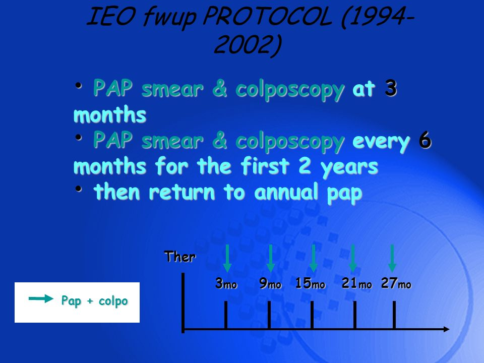 IEO fwup PROTOCOL (1994- 2002) PAP smear & colposcopy at 3 months PAP smear & colposcopy at 3 months PAP smear & colposcopy every 6 months for the fir