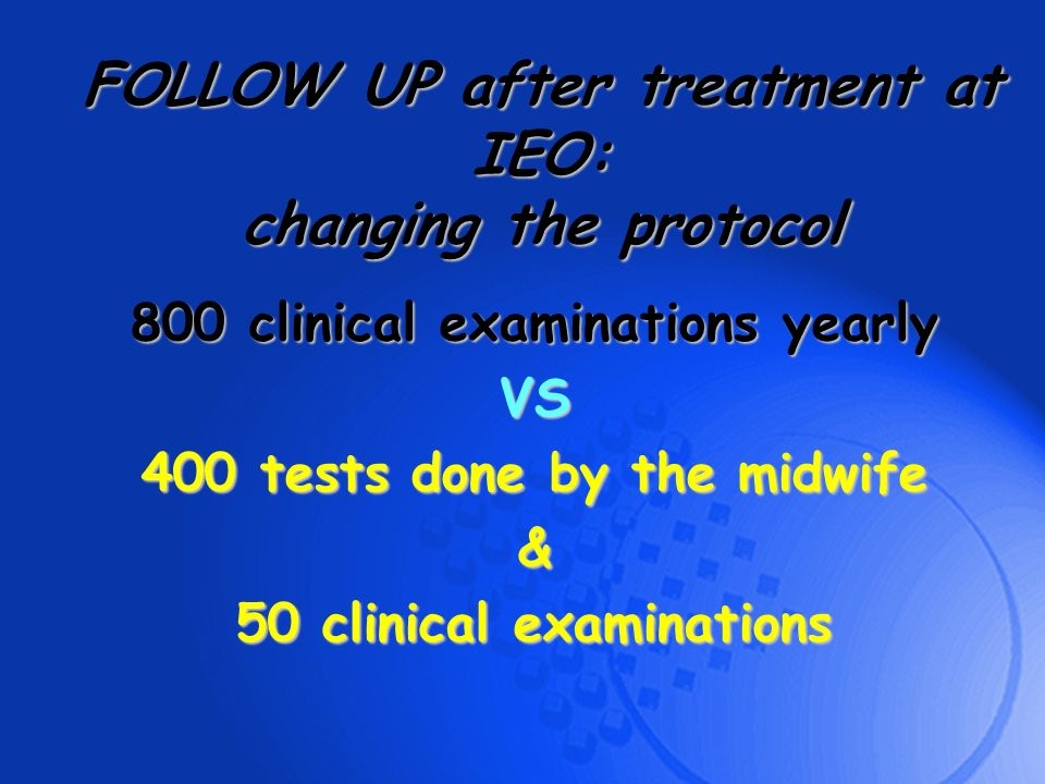 800 clinical examinations yearly VS 400 tests done by the midwife & 50 clinical examinations FOLLOW UP after treatment at IEO: changing the protocol