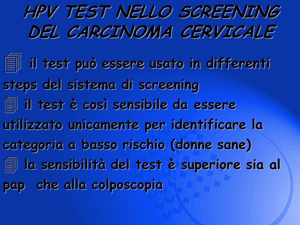 4 il test può essere usato in differenti steps del sistema di screening 4 il test è così sensibile da essere utilizzato unicamente per identificare la