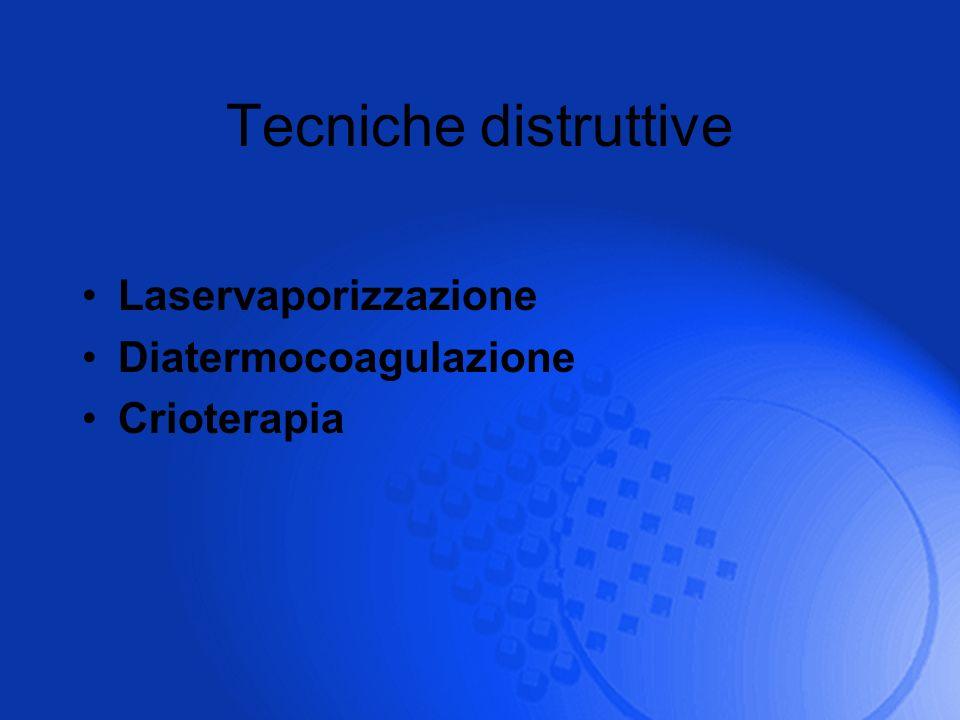 Tecniche distruttive Laservaporizzazione Diatermocoagulazione Crioterapia