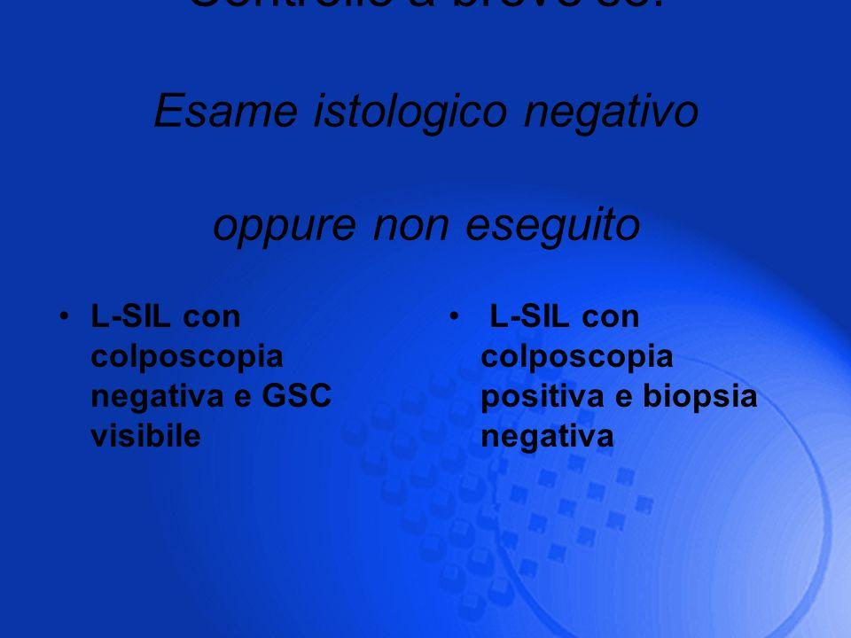 Controllo a breve se: Esame istologico negativo oppure non eseguito L-SIL con colposcopia negativa e GSC visibile L-SIL con colposcopia positiva e bio