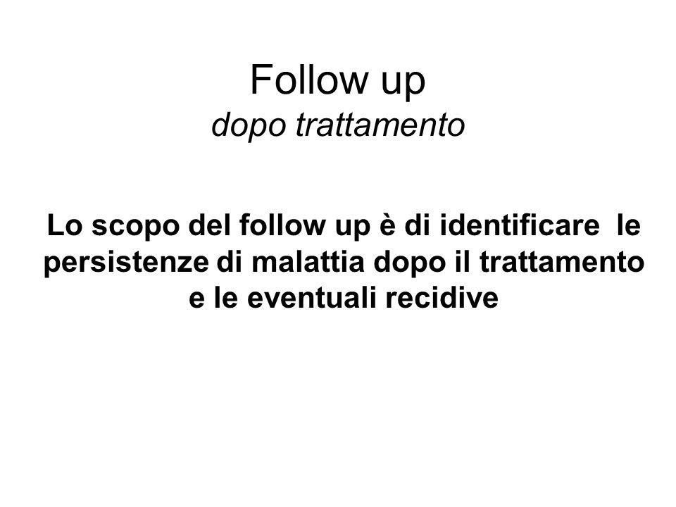 Follow up dopo trattamento Lo scopo del follow up è di identificare le persistenze di malattia dopo il trattamento e le eventuali recidive