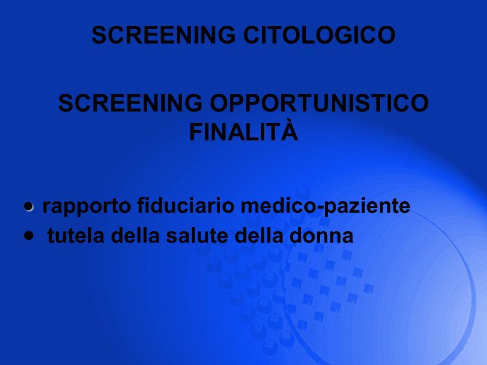 SCREENING CITOLOGICO rapporto fiduciario medico-paziente tutela della salute della donna SCREENING OPPORTUNISTICO FINALITÀ