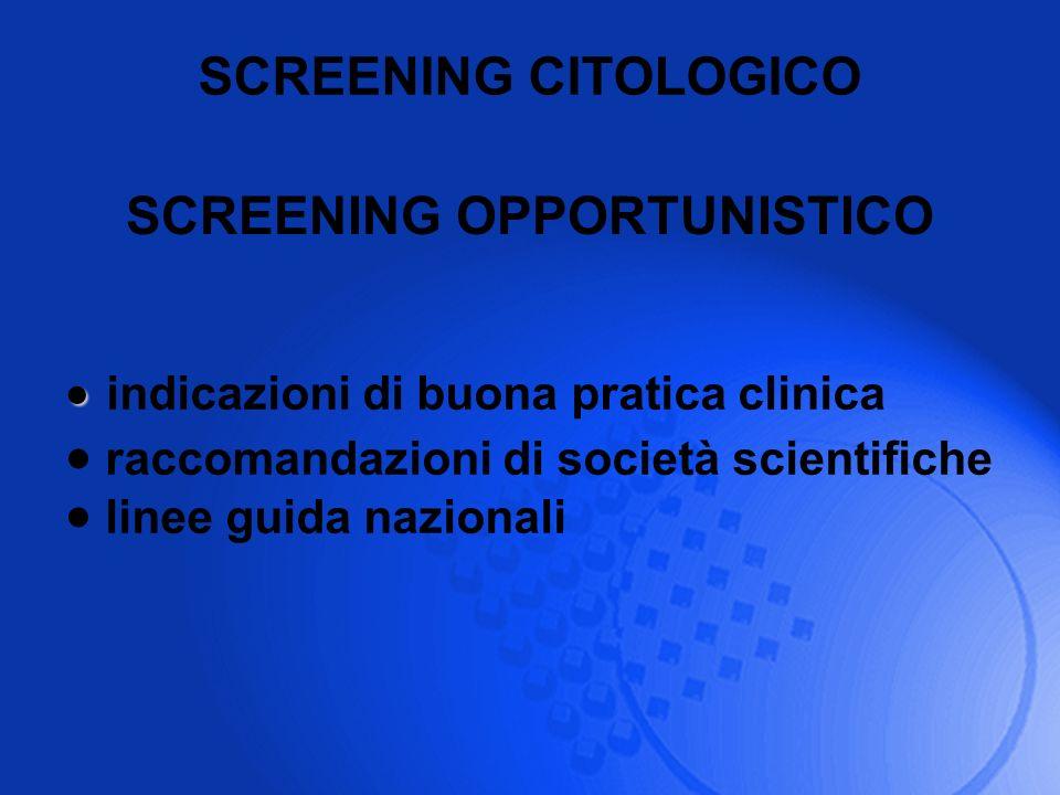 SCREENING CITOLOGICO indicazioni di buona pratica clinica raccomandazioni di società scientifiche linee guida nazionali SCREENING OPPORTUNISTICO