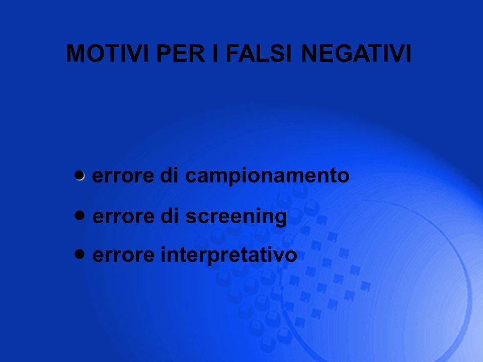 MOTIVI PER I FALSI NEGATIVI errore di campionamento errore di screening errore interpretativo
