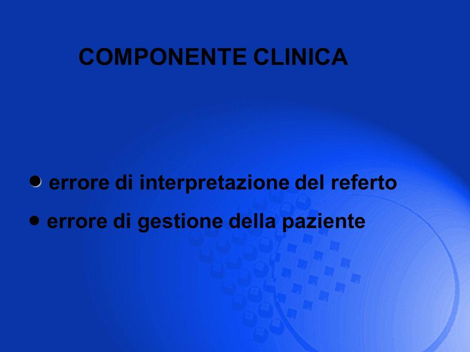 COMPONENTE CLINICA errore di interpretazione del referto errore di gestione della paziente