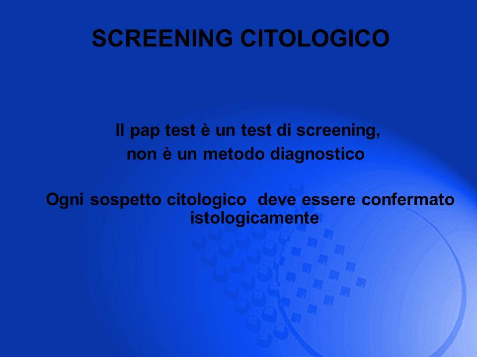 Il pap test è un test di screening, non è un metodo diagnostico Ogni sospetto citologico deve essere confermato istologicamente SCREENING CITOLOGICO