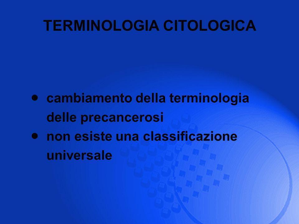 TERMINOLOGIA CITOLOGICA cambiamento della terminologia delle precancerosi non esiste una classificazione universale