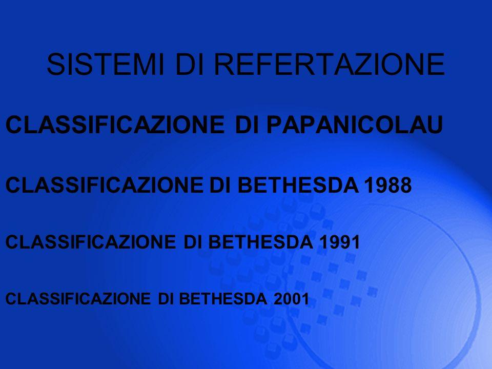 SISTEMI DI REFERTAZIONE CLASSIFICAZIONE DI PAPANICOLAU CLASSIFICAZIONE DI BETHESDA 1988 CLASSIFICAZIONE DI BETHESDA 1991 CLASSIFICAZIONE DI BETHESDA 2