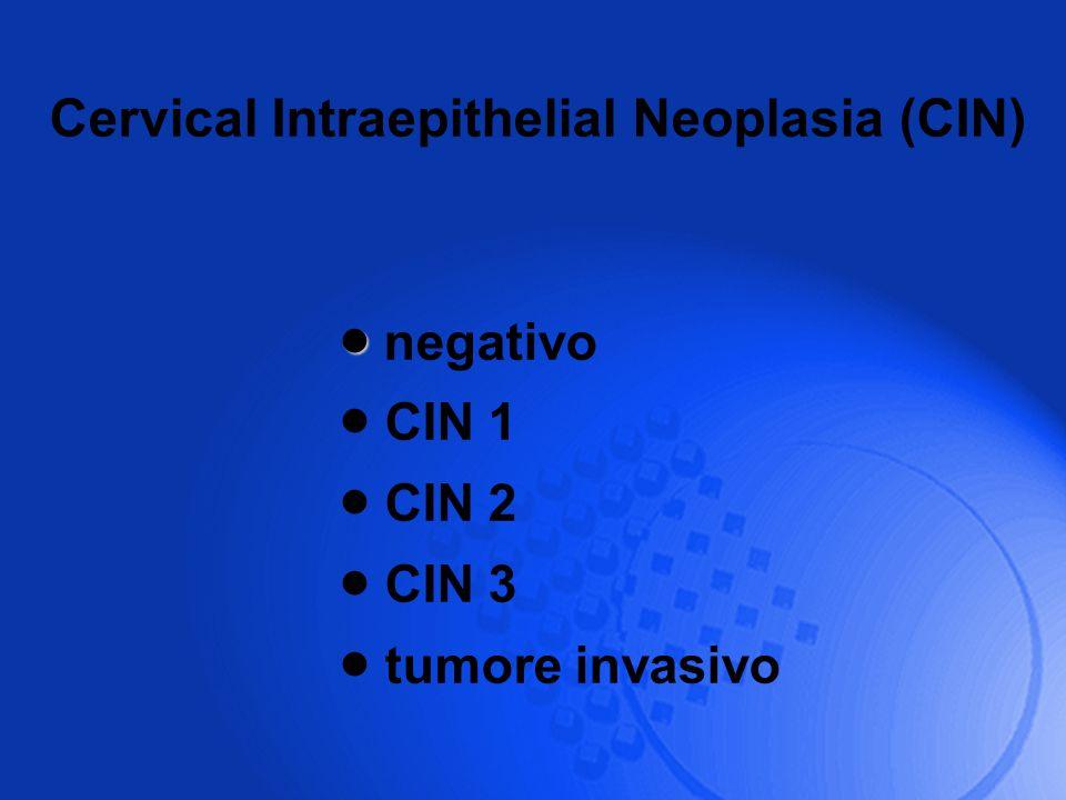 negativo CIN 1 CIN 2 CIN 3 tumore invasivo Cervical Intraepithelial Neoplasia (CIN)