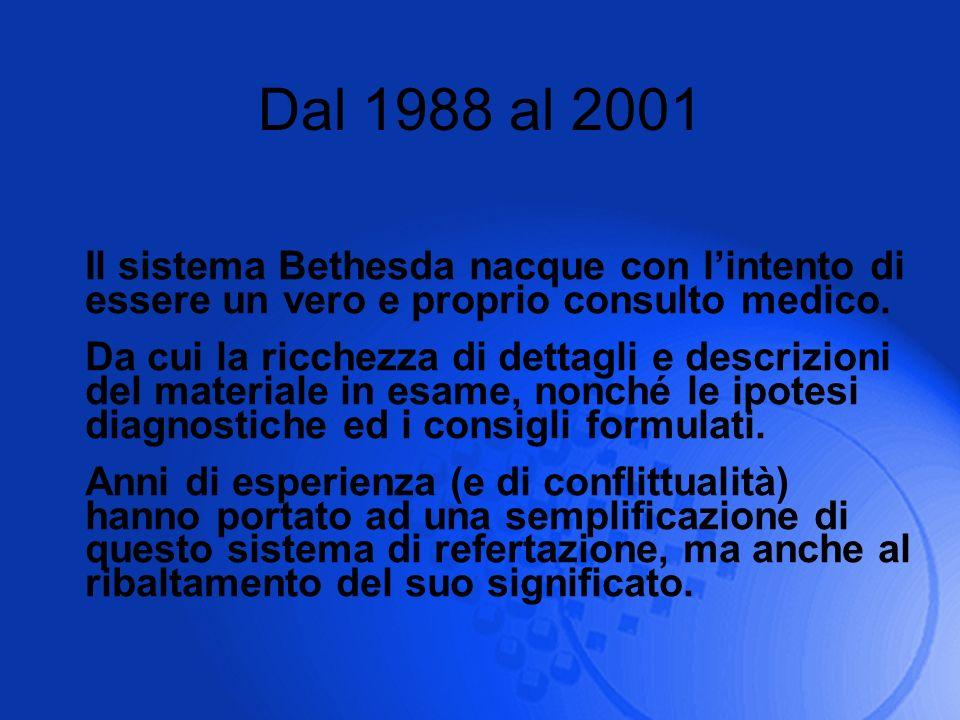 Dal 1988 al 2001 Il sistema Bethesda nacque con lintento di essere un vero e proprio consulto medico. Da cui la ricchezza di dettagli e descrizioni de