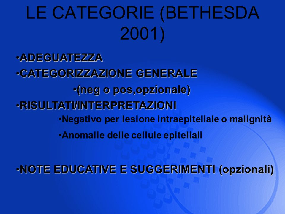 LE CATEGORIE (BETHESDA 2001) ADEGUATEZZAADEGUATEZZA CATEGORIZZAZIONE GENERALECATEGORIZZAZIONE GENERALE (neg o pos,opzionale)(neg o pos,opzionale) RISU