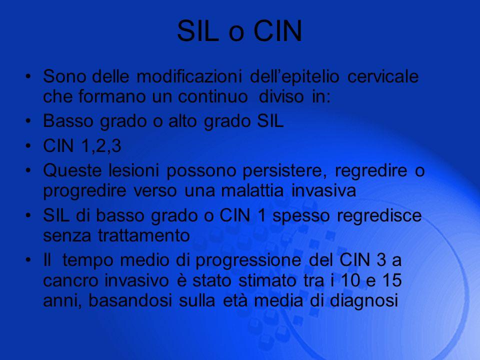 SIL o CIN Sono delle modificazioni dellepitelio cervicale che formano un continuo diviso in: Basso grado o alto grado SIL CIN 1,2,3 Queste lesioni pos