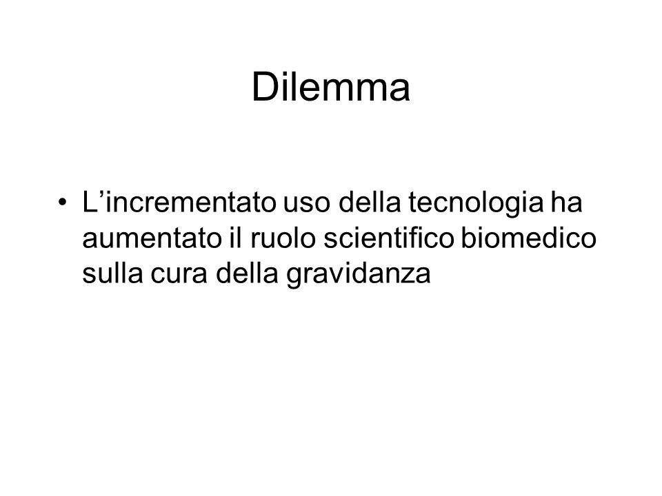 Dilemma Lincrementato uso della tecnologia ha aumentato il ruolo scientifico biomedico sulla cura della gravidanza