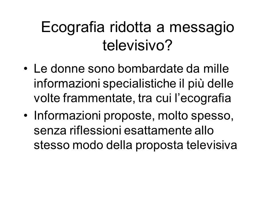Ecografia ridotta a messagio televisivo.