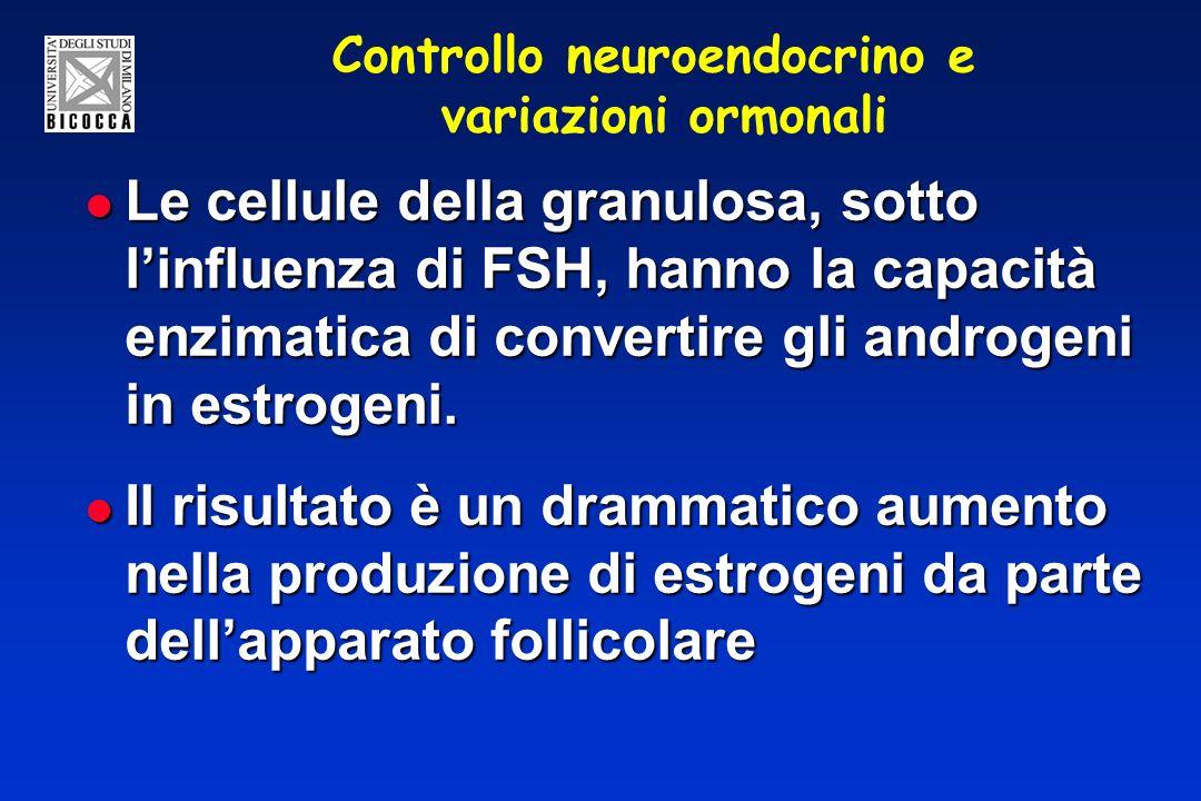 Controllo neuroendocrino e variazioni ormonali Le cellule della granulosa, sotto linfluenza di FSH, hanno la capacità enzimatica di convertire gli and